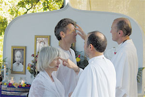 Blessing during Kriya initiation