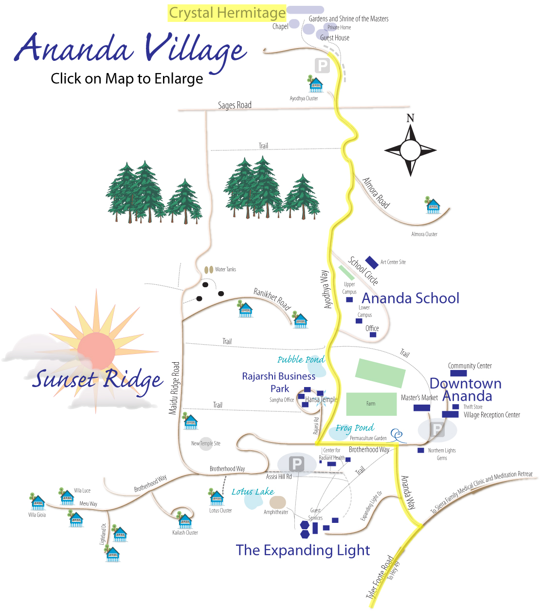 Crystal Nevada Map Directions to Crystal Hermitage | Ananda Village